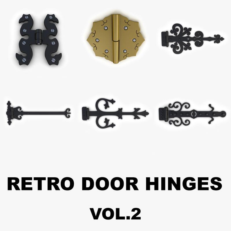 3d model retro door gate hinges