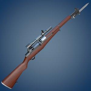 m1 garand rifle c4d