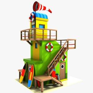 3d cartoon lifeguard tower