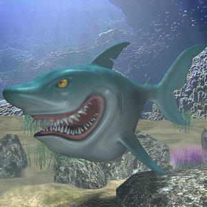 cartoon shark rigged animation 3d model
