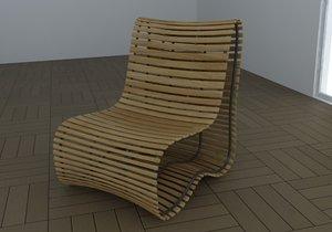 3d model modern wood chair