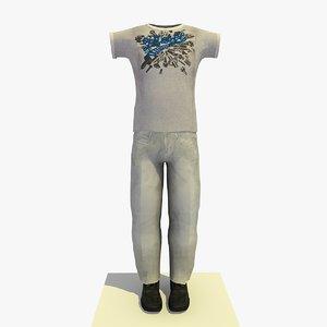 3d c4d man clothes t-shirt