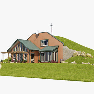 3d earth sheltered house