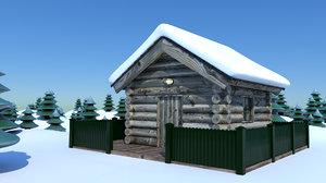 cabin snow 3d obj