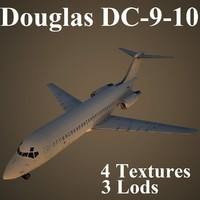 3dsmax douglas dc-9-10 low-poly