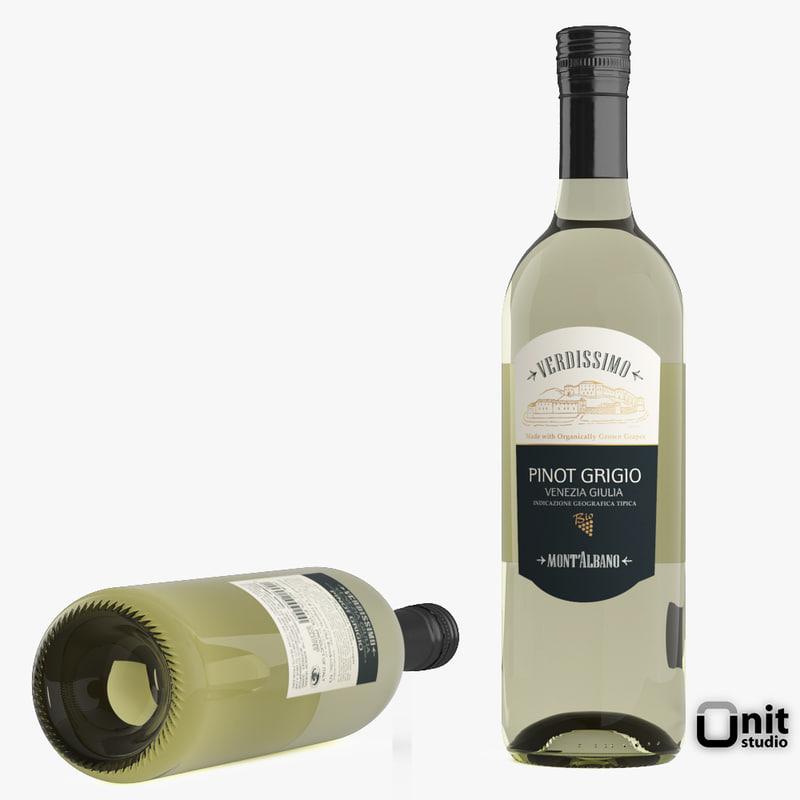 3d model bottle wine pinot grigio