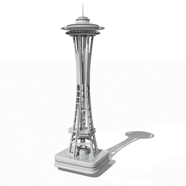 space needle landmark 3d model