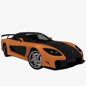 3d model mazda rx7 tokyo drift