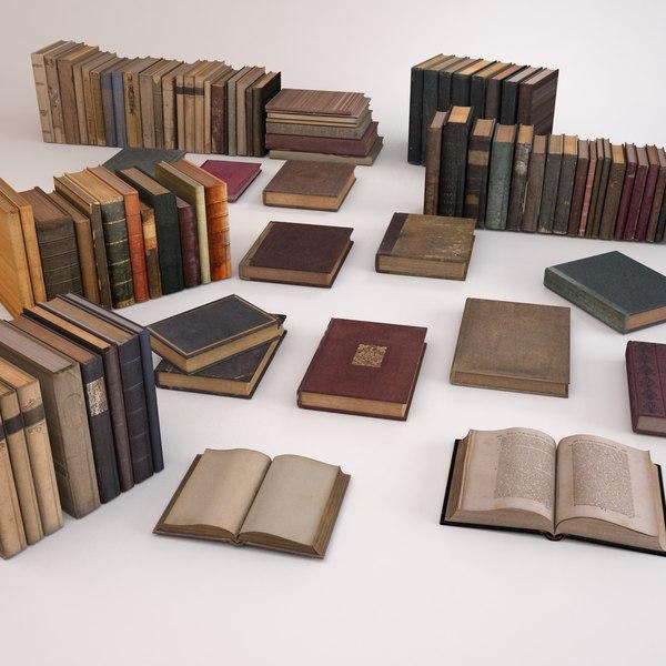 3d model old books set 2