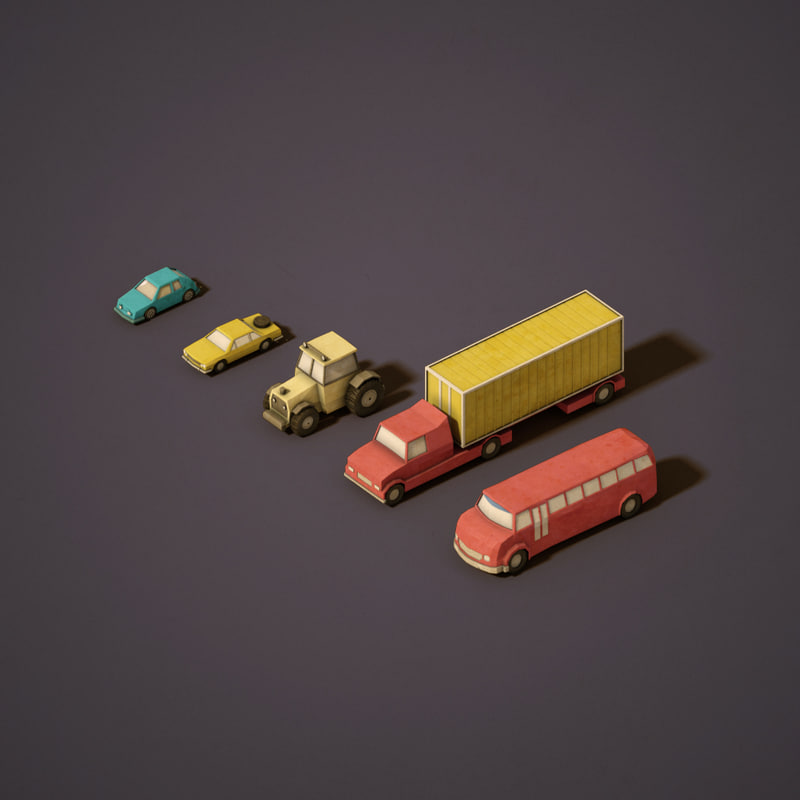 3d urban vehicles model