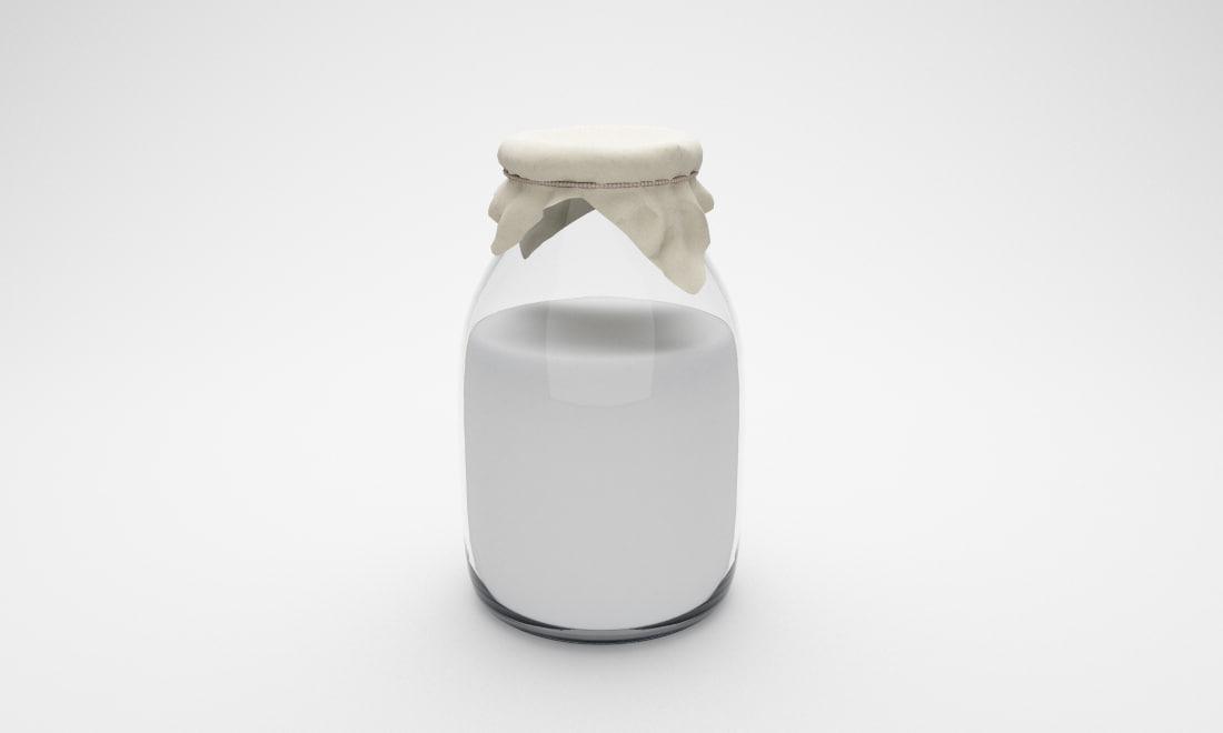 3d bottle milk model