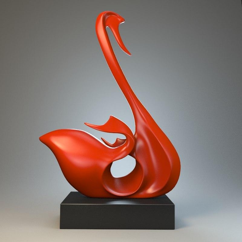 sculpture swan 3d max