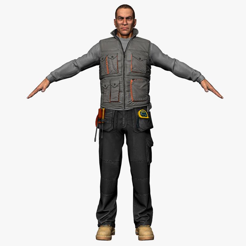 3ds max male workman body cloth