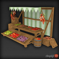 Low Poly Market Stall Veg