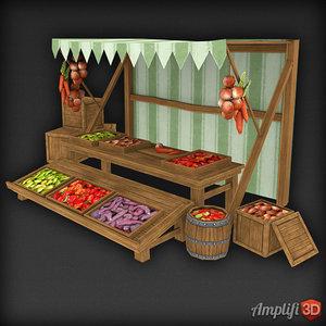 3d market stall