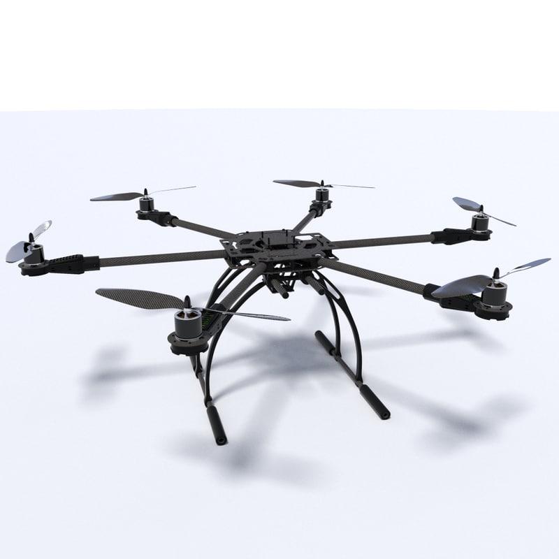 hexacopter hexa 3d fbx