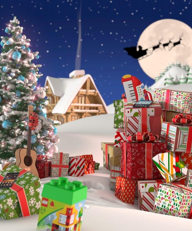 3d christmas scenery