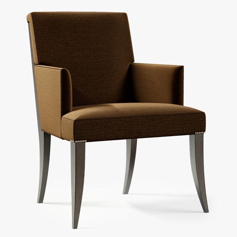 baker atelier dining arm chair 3d model