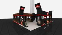fair stand exhibition wooden 3d model