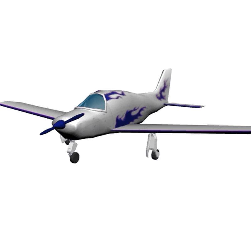 plane beechcraft b 24 3d model