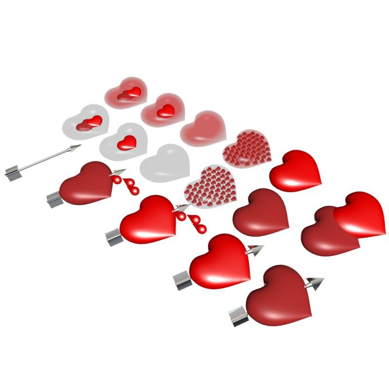 hearts arrow 3d model