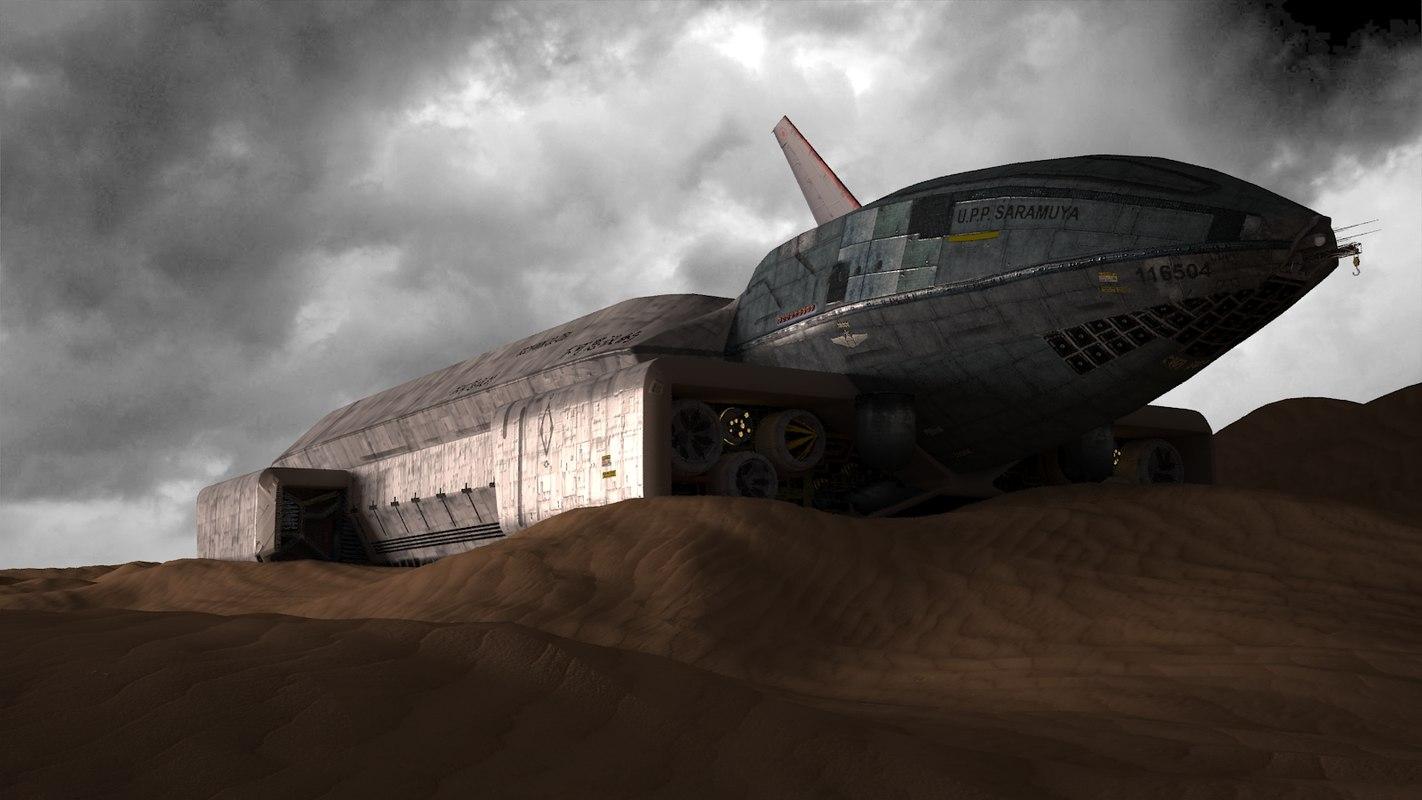 3d model ship crashed