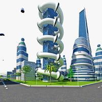 3d model futuristic city