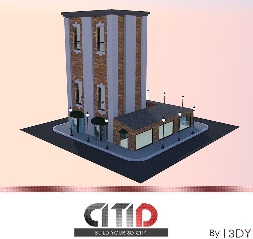 3d model citid buildings suburb bar