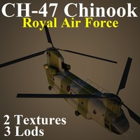 3d ch-47 chinook raf helicopter model