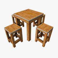 3d small wooden table set model
