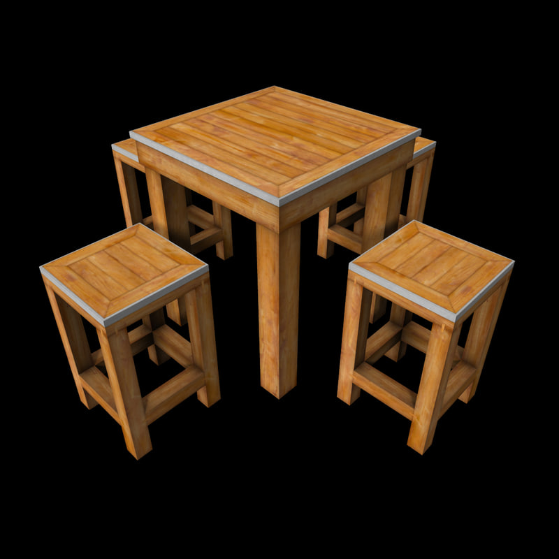 & 3d small wooden table set model