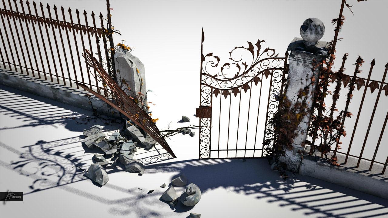 old broken gate 3d max