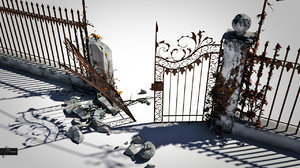 old broken gate 3d max