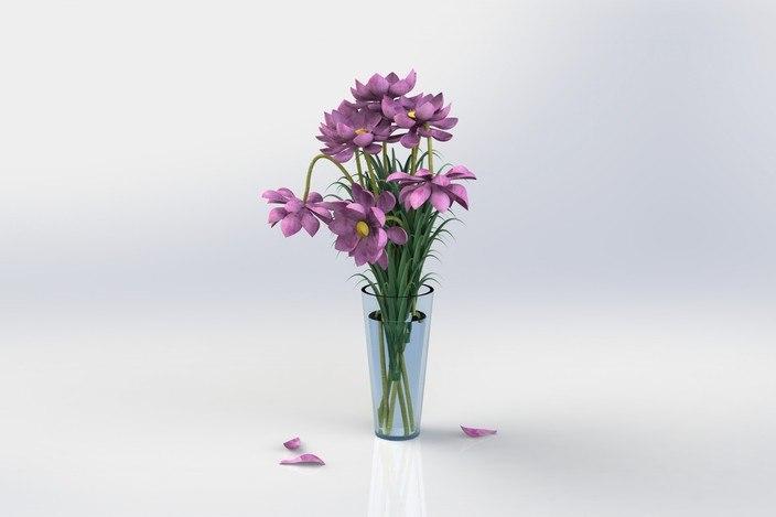 3d flowers vase model