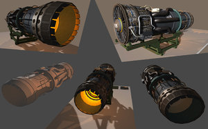 military jet engine stand c4d