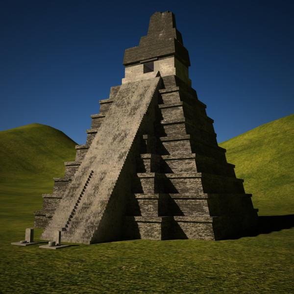 3d tikal temple structures