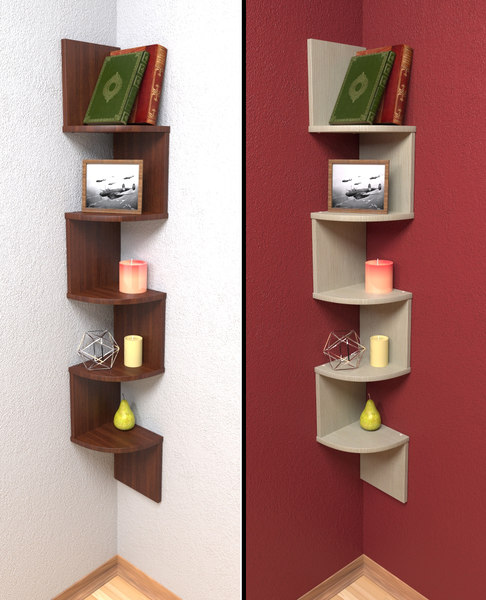 3d model laminated corner shelf