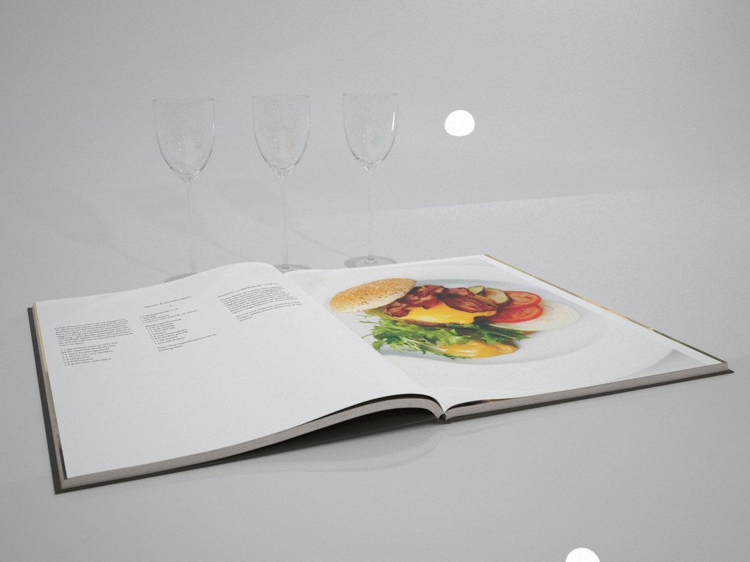 3d model open book glass