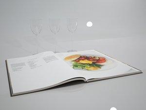3d model open book glass