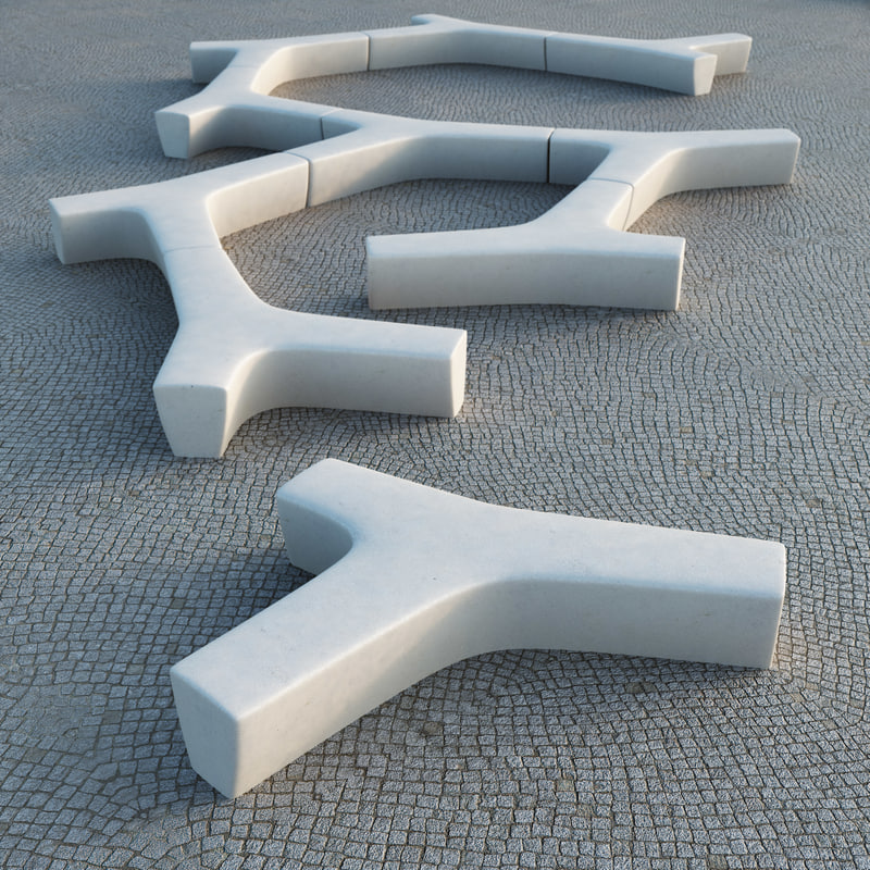 twig modular bench escofet 3d model