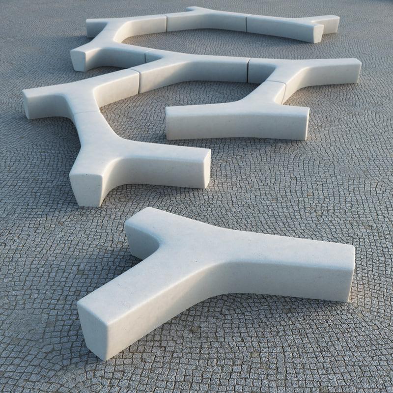 twig modular bench escofet 3d model