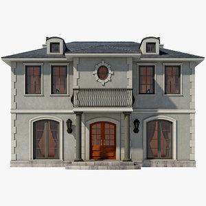 3d model faux chateau house
