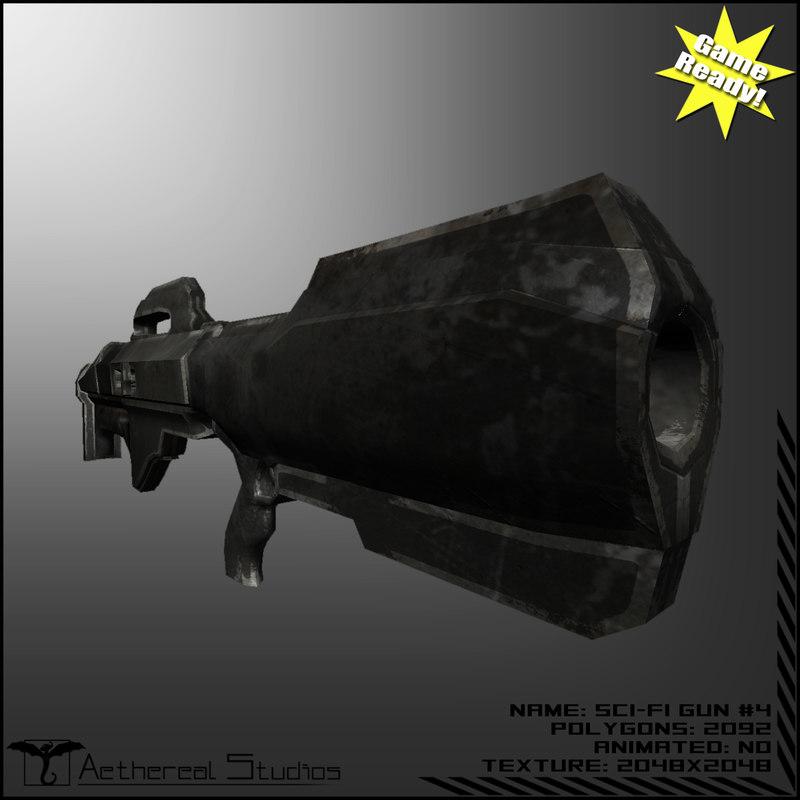 sci-fi weapon 4 3d fbx