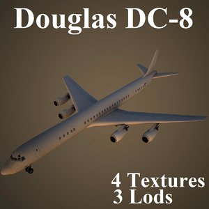 3d model douglas dc-8 low-poly