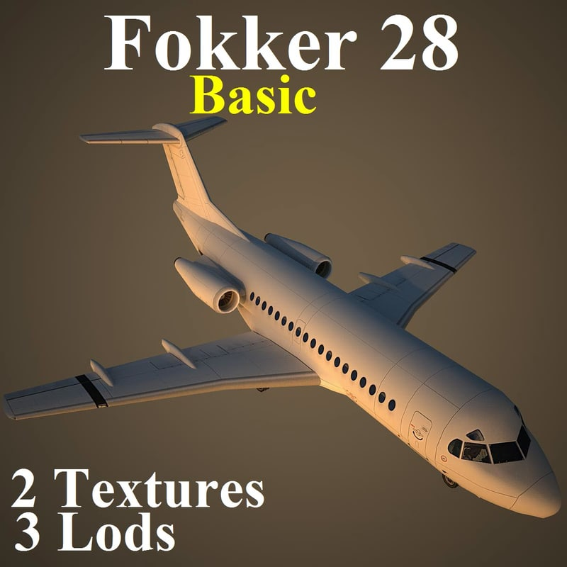 fokker 28 basic 3d model
