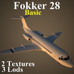 fokker 28 basic 3d model