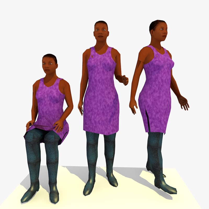 walking african female character 3ds