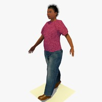 Low Poly Walking African Woman C