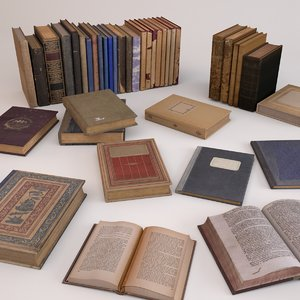 3d old books set 3