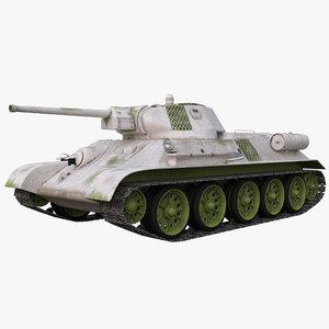 3d soviet tank t-34 winter